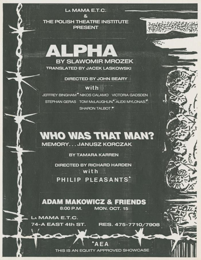 "Promotional Flyer: ""Alpha"" + ""Who Was That Man?"" (1984)"