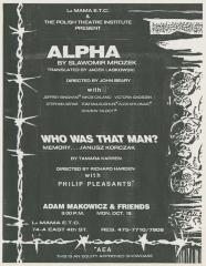 """Promotional Flyer: """"Alpha"""" + """"Who Was That Man?"""" (1984)"""