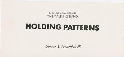 """Program and flyer for """"The Talking Band in 'Holding Patterns'"""" (1984)"""