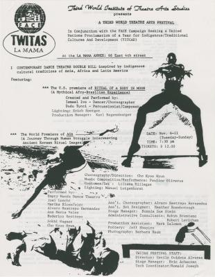 """Promotional Flyer: """"A Third World Theatre Arts Festival"""" (1984)"""