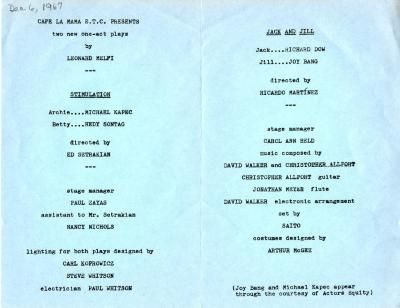 """Program for """"Jack and Jill"""" (1967)"""