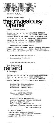 """Program: """"Renard"""" And """"The Only Jealousy Of Emer"""" (1970a)"""