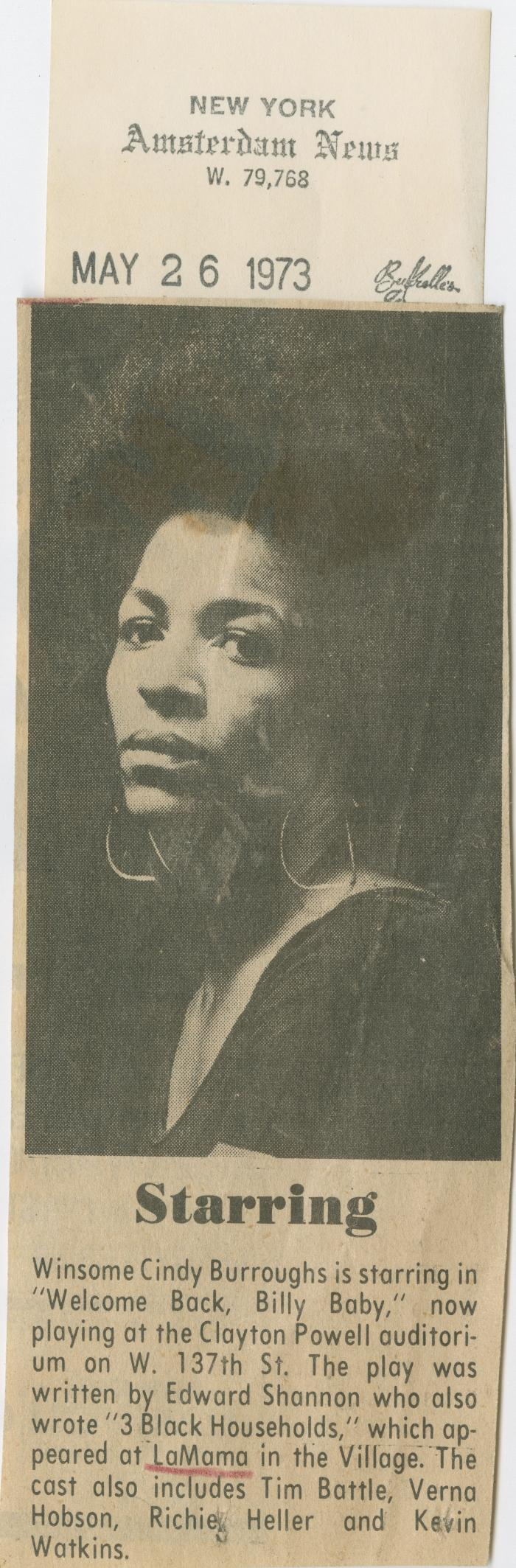"""Clipping: """"Starring"""" (1973)"""