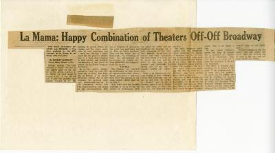 """Clipping: """"La MaMa: Happy Combination of Theatres Off-Off Broadway"""" (1972)"""