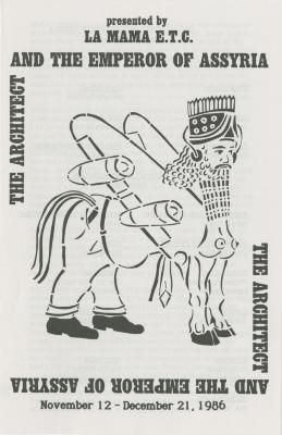 """Program: """"The Architect And The Emperor Of Assyria"""" (1986)"""
