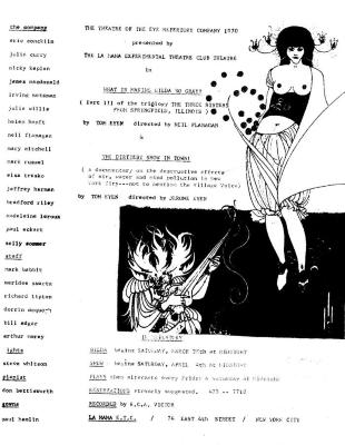 """Flyer for """"What Is Making Gilda So Gray?"""" and """"The Dirtiest Show in Town"""" (1970)"""