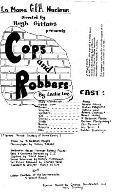 """Program for """"Cops and Robbers"""" (1971) (front)"""
