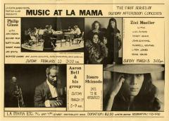 """Promotional Flyer: """"Music at La MaMa"""" (1972)"""