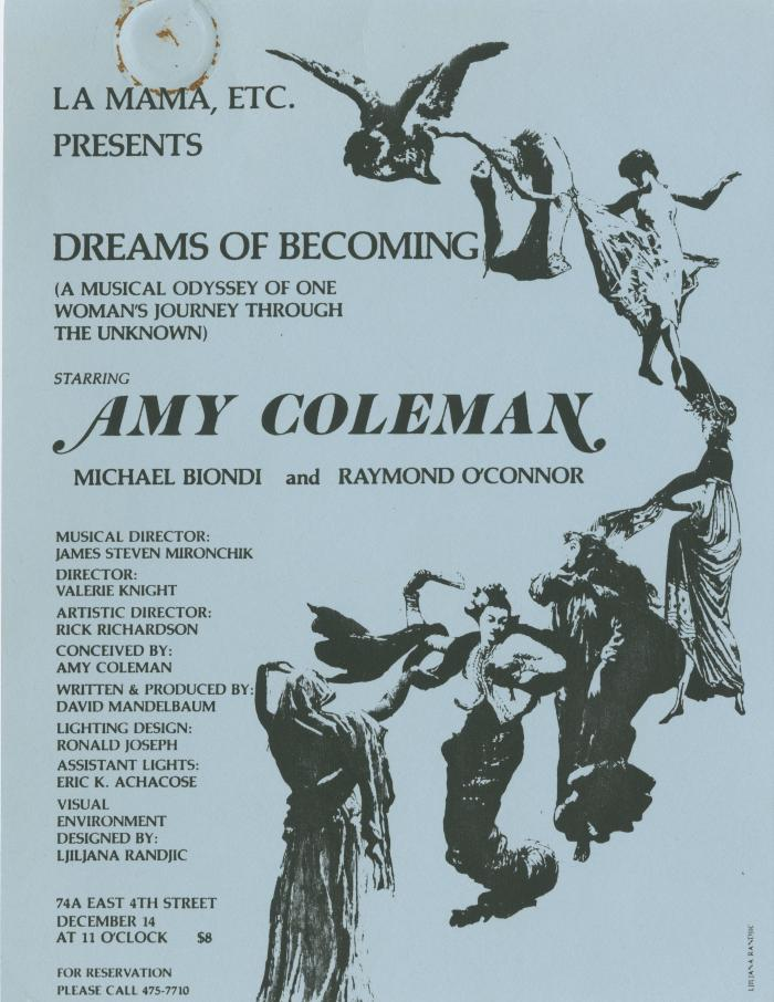 """Promotional Flyers: """"Dreams of Becoming"""" (1984)"""